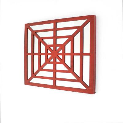 HomeRoots Mariana Red Modern Mirrored Bright Wooden Wall Decor