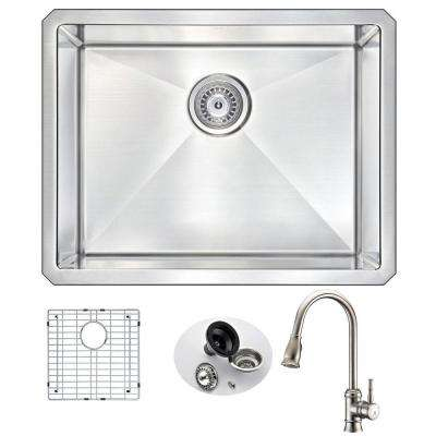 VANGUARD Undermount Stainless Steel 23 in. Single Bowl Kitchen Sink and Faucet Set with Sails Faucet in Brushed Nickel