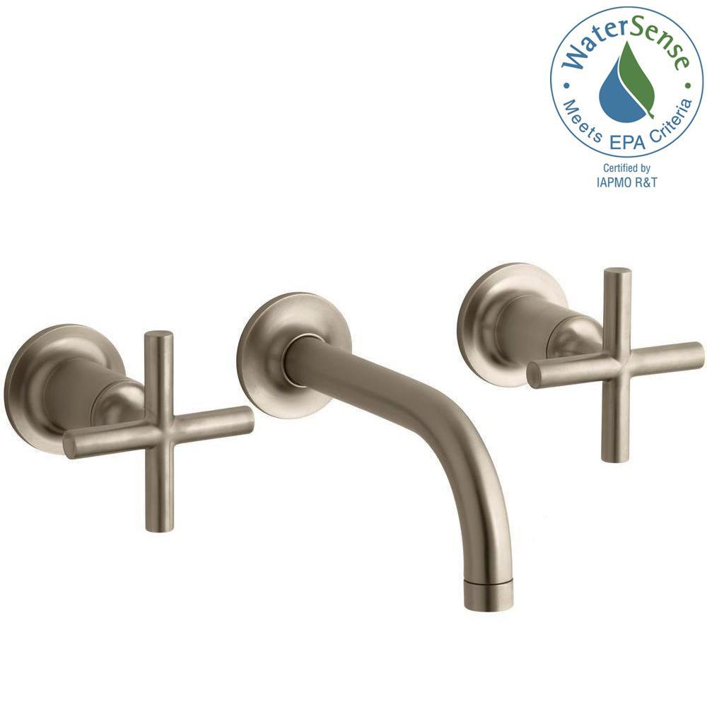 KOHLER Purist Wall-Mount 2-Handle Bathroom Faucet Trim Kit in Vibrant Brushed Bronze