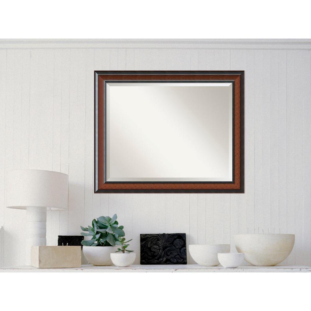 Cyprus Walnut Wood 33 in. W x 27 in. H Traditional Framed Mirror