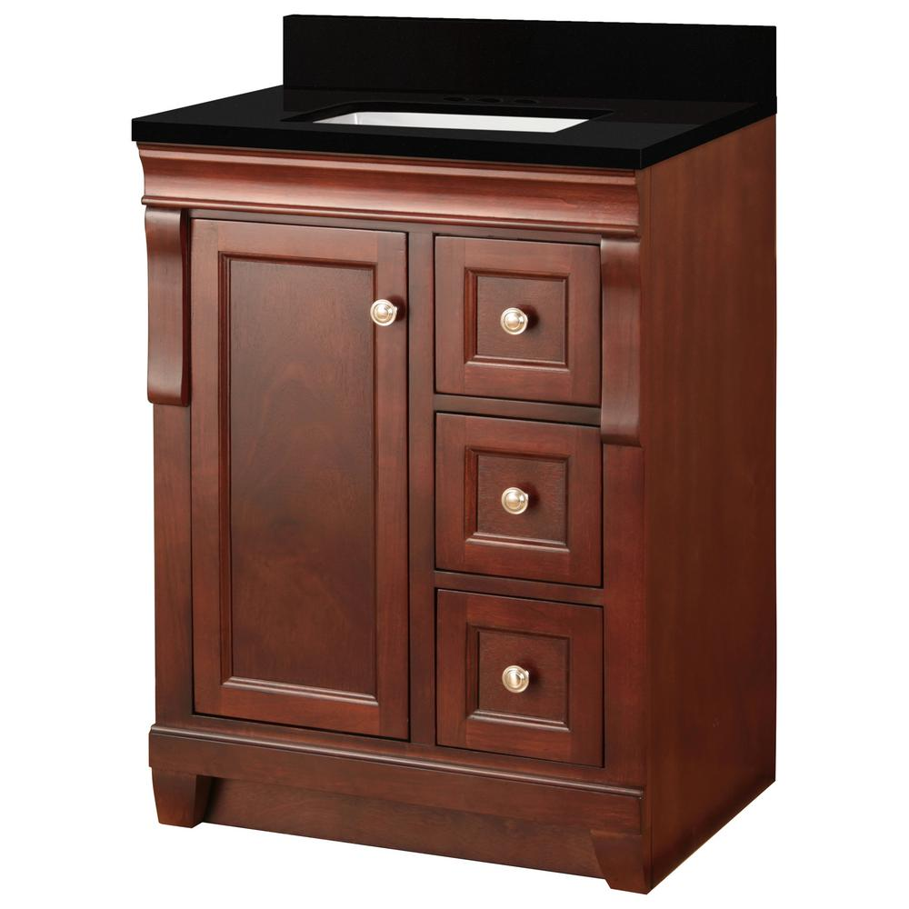 Home Decorators Collection Naples 25 in. W x 22 in. D Bath Vanity in Tobacco with Granite Vanity Top in Midnight Black with Trough White Basin was $699.0 now $419.4 (40.0% off)