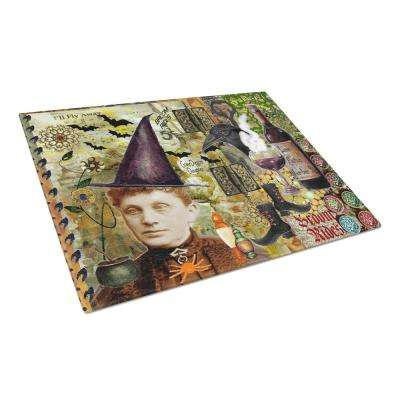 Broom Rides and Spells Halloween Tempered Glass Large Cutting Board