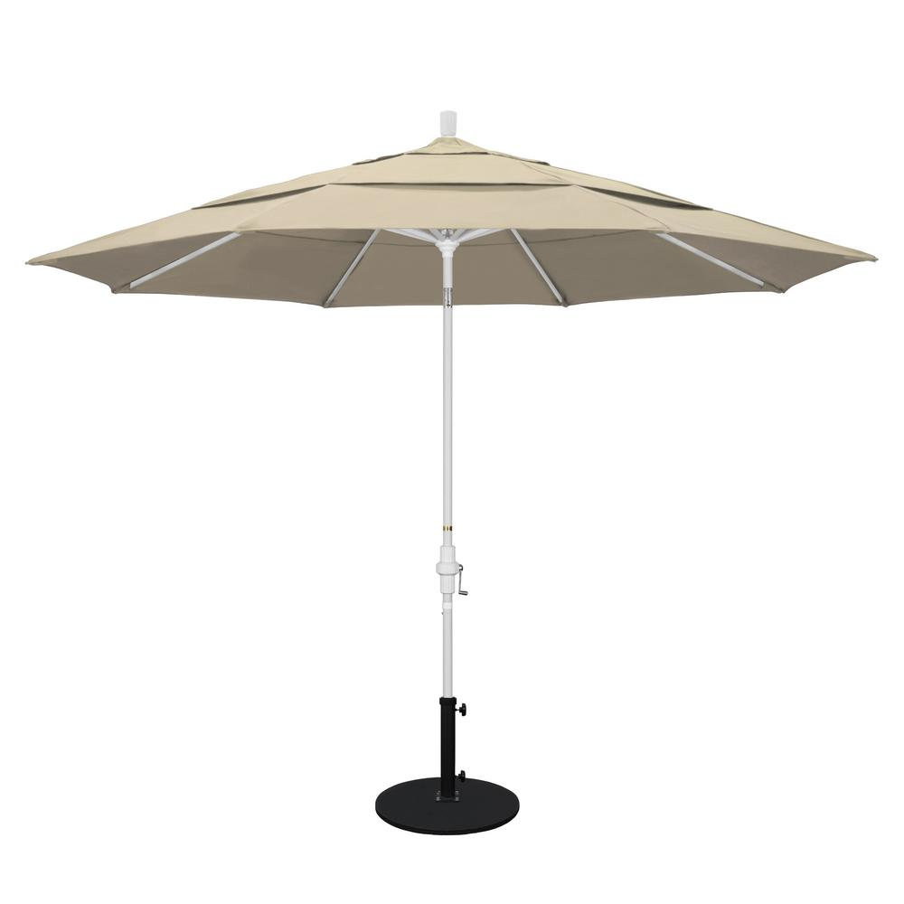 11 ft. Aluminum Collar Tilt Double Vented Patio Umbrella in Beige