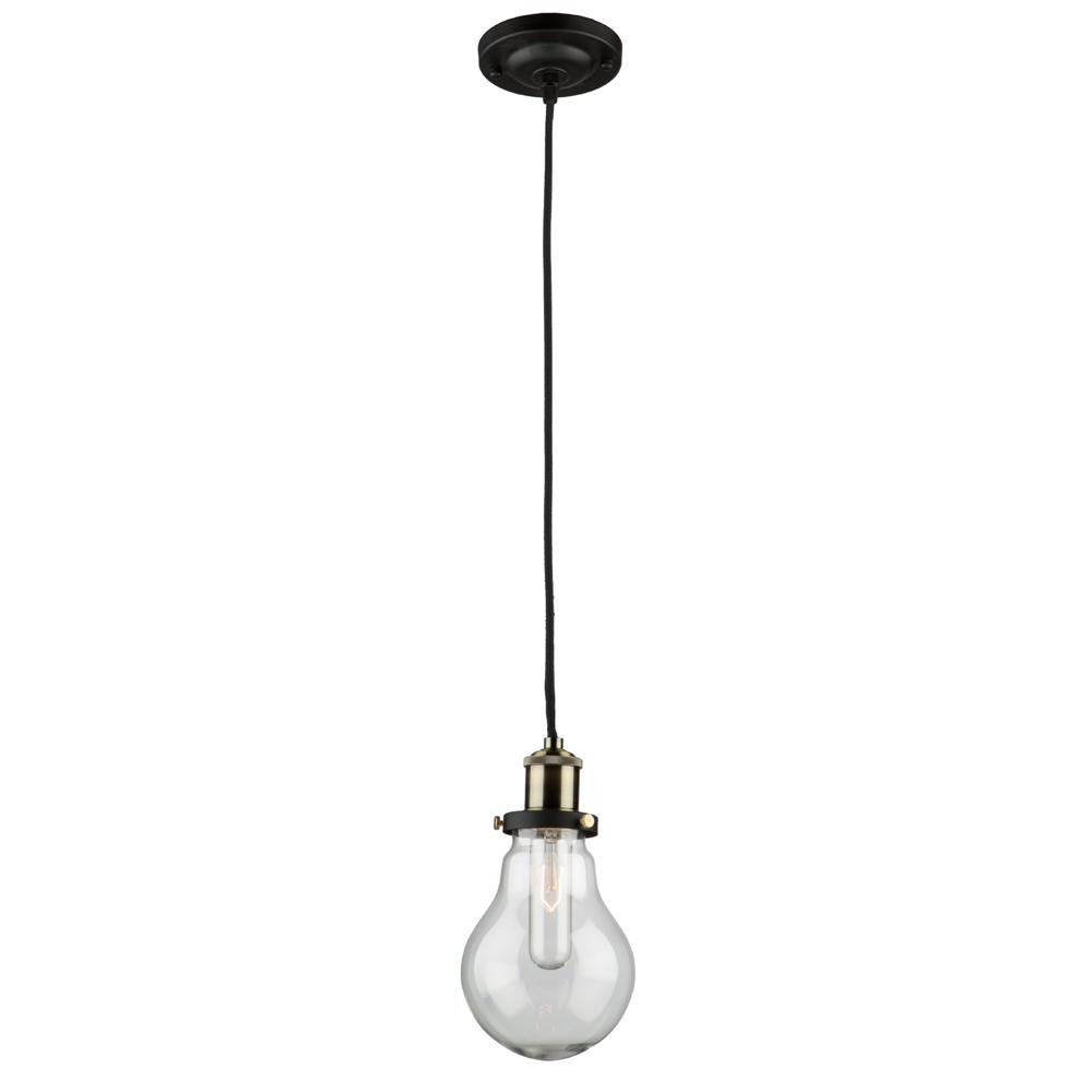 1-Light Matte Black and Vintage Brass Pendant