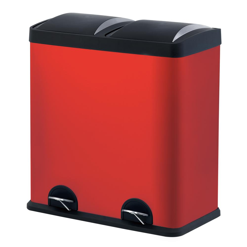 Step N' Sort 16 gal. Red 2-Compartment Stainless Steel Trash and Indoor Recycling Bin