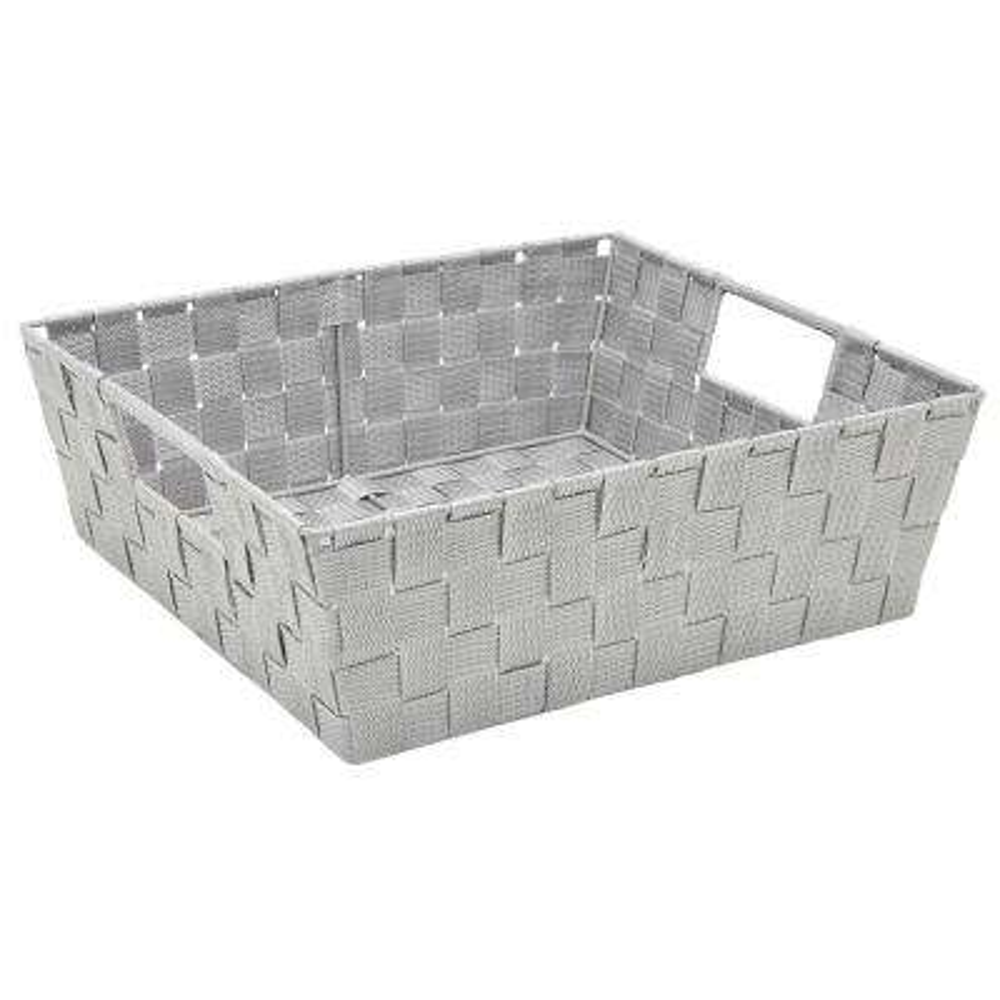 13 in. x 15 in. x 5 in. Large Woven Storage Bin in Grey