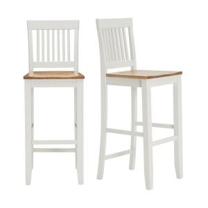 Scottsbury Ivory Wood Bar Stool with Slat Back and Honey Seat (Set of 2) (19.14 in. W x 44.52 in. H)