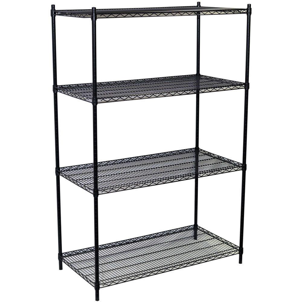 86 in. H x 48 in. W x 18 in. D 4-Shelf Steel Wire Shelving Unit in Black