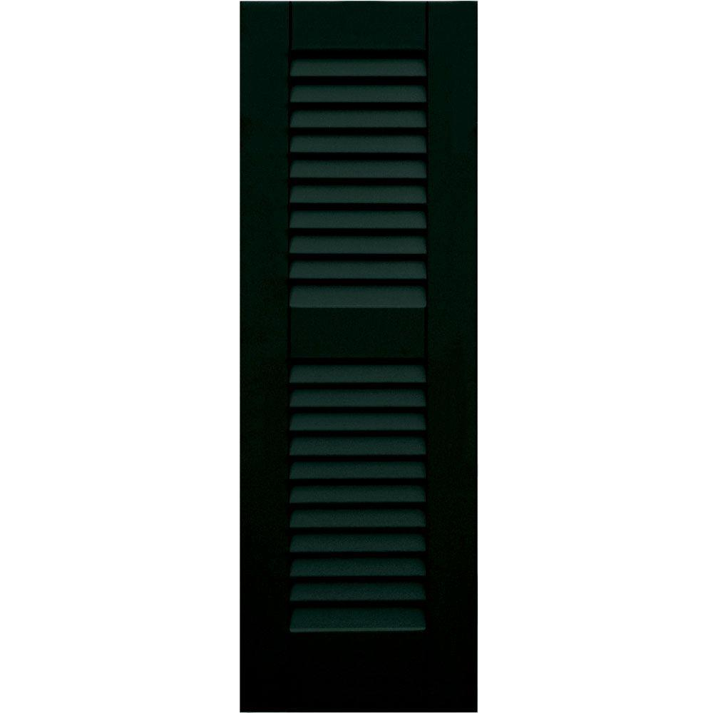 Winworks Wood Composite 12 in. x 36 in. Louvered Shutters Pair #654 Rookwood Shutter Green