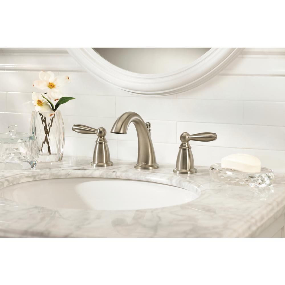 Brantford 8 in. Widespread 2-Handle High-Arc Bathroom Faucet Trim Kit with Valve in Brushed Nickel