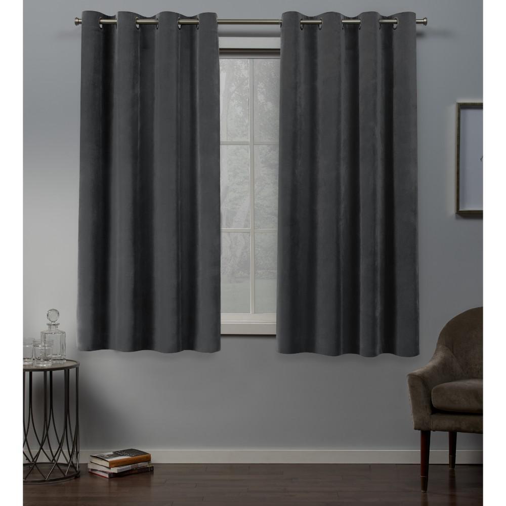 Velvet 54 in. W x 63 in. L Velvet Grommet Top Curtain Panel in Soft Gray (2 Panels)