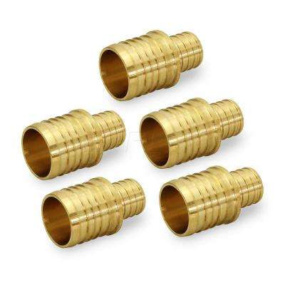 1/2 in. x 3/8 in. Brass PEX Straight Reducing Coupling Barb Pipe Fitting (5-Pack)
