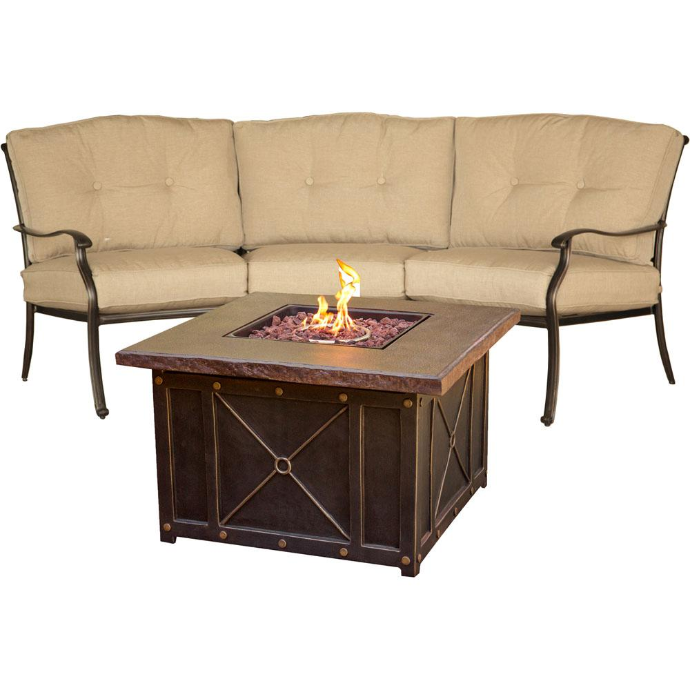 27172adfdcdc Concord 2-Piece All-Weather Patio Chat Set and Durastone Fire Pit with Tan  Cushions