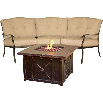Concord 2-Piece All-Weather Patio Chat Set and Durastone Fire Pit with Tan Cushions