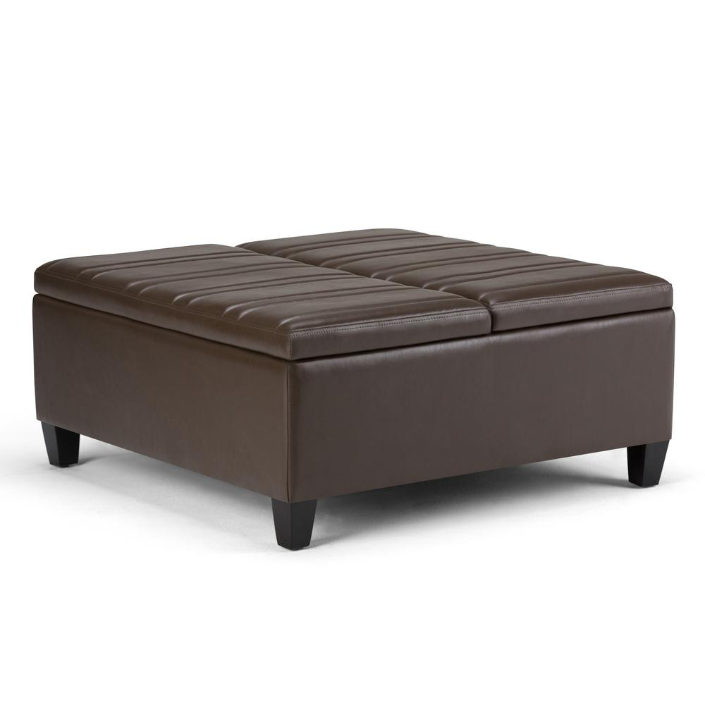 Ellis Chocolate Brown PU Faux Leather Coffee Table Storage Ottoman