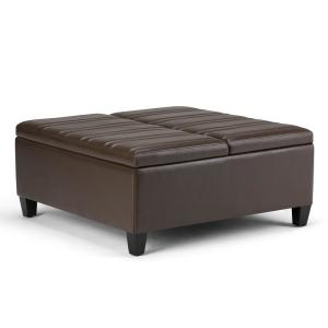 Beau Simpli Home Ellis Chocolate Brown PU Faux Leather Coffee Table Storage  Ottoman AXCOT 266 CBR   The Home Depot