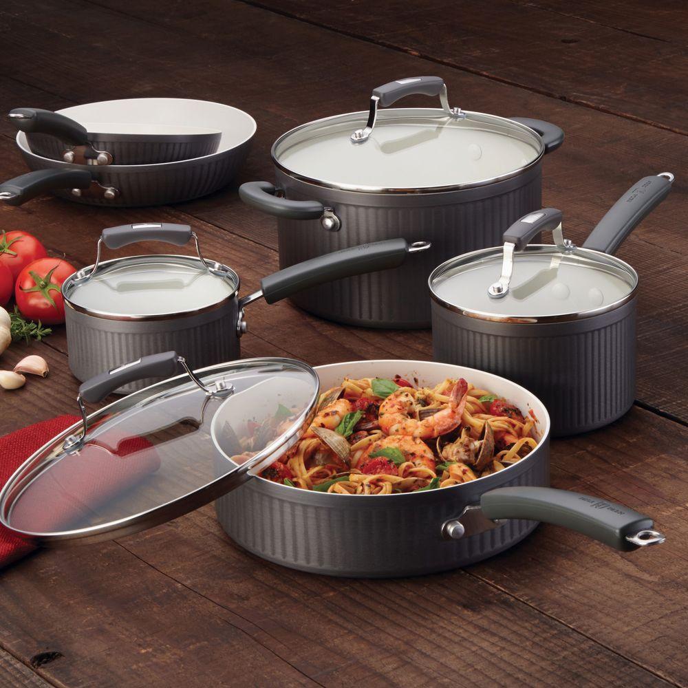 Savannah 10-Piece Gray Cookware Set with Lids