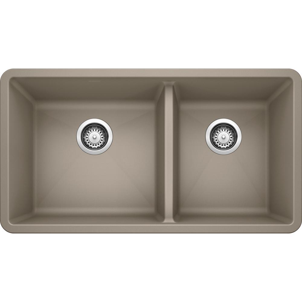 PRECIS Undermount Granite Composite 33 in. 60/40 Double Bowl Kitchen Sink in Truffle
