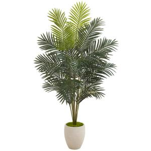 63 in. Paradise Palm Artificial Plant in Sand Colored Planter