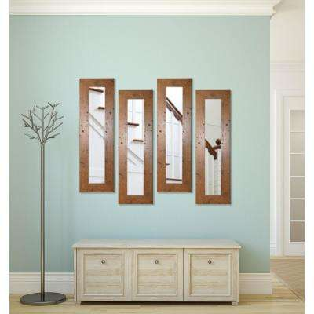 11.5 in. x 39.5 in. Rustic Light Walnut Vanity Mirror (Set of 4-Panels)