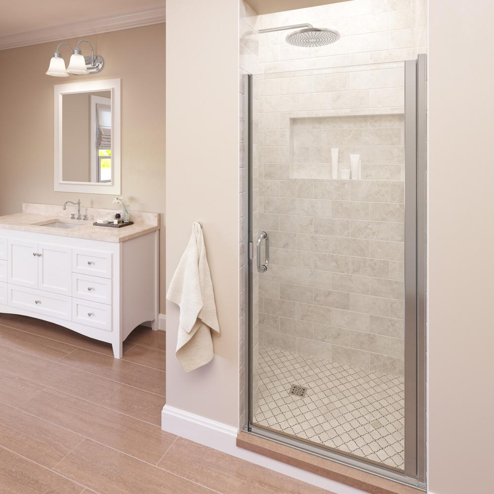Basco Infinity 33 In X 65 9 16 In Semi Frameless Hinged Shower Door In Chrome With Aquaglidexp Clear Glass Infn00a3365xpsv The Home Depot