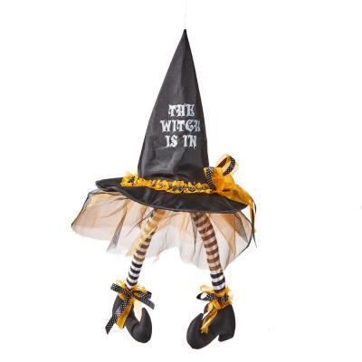 28 in. Halloween Hanging Witch Hat with Legs