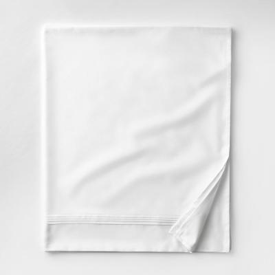 Legends White Solid 600-Thread Count Egyptian Cotton Sateen King Flat Sheet