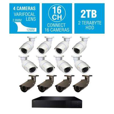16-Channel 4K 2TB NVR Surveillance System with 4MP 8-Bullet and 4MP 4-Varifocal Bullet Cameras