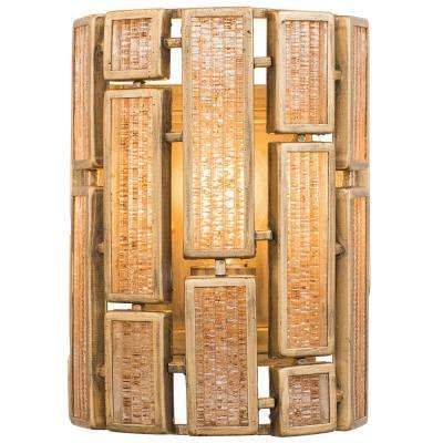 Harlowe 1-Light Havana Gold Wall Sconce with Brown Textured Ice Glass
