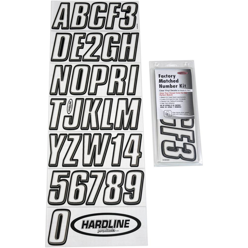 Boat Lettering Clear and Black Registration Kit