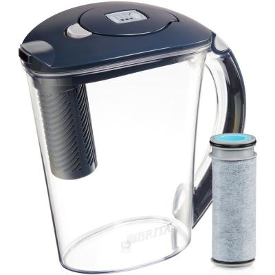 Stream Rapids 10-Cup Filter as You Pour Water Filter Pitcher in Carbon Gray, BPA Free