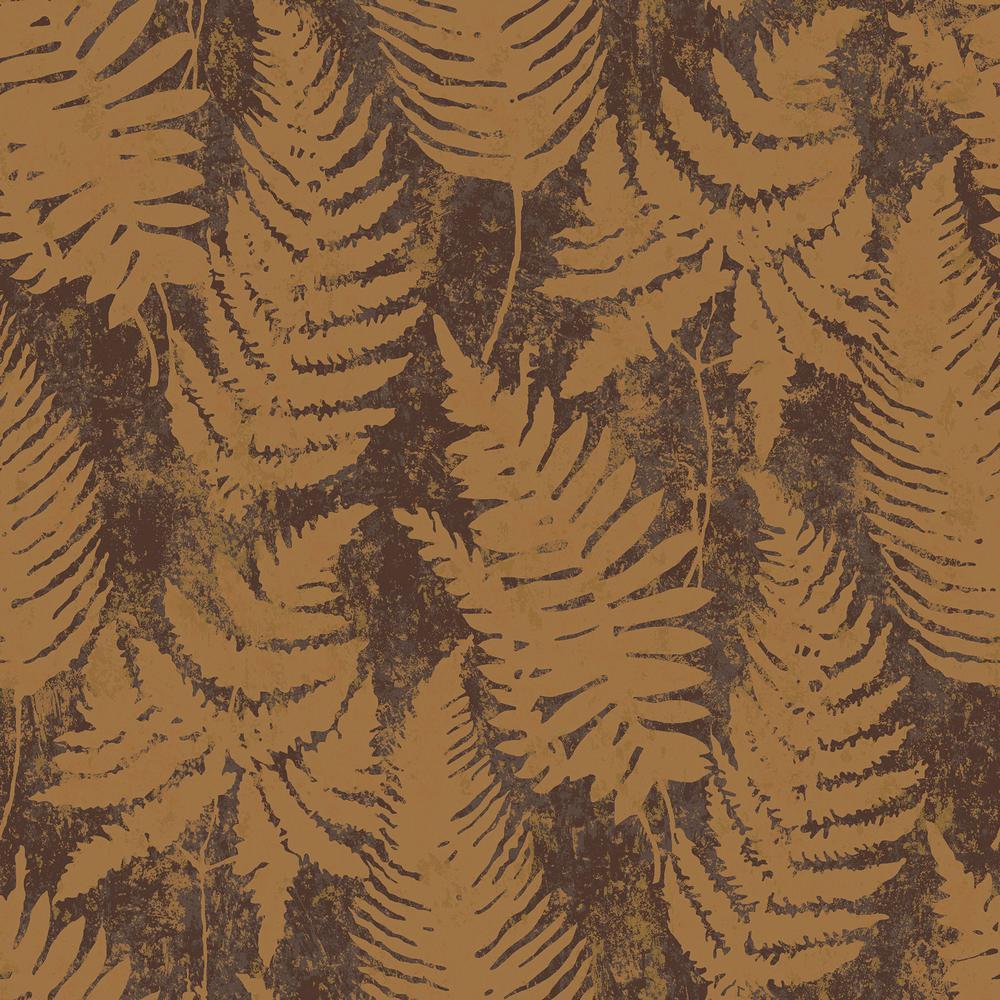 57.8 sq. ft. Whistler Brown Leaf Wallpaper