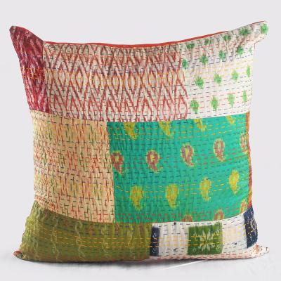 Kantha Multicolored Graphic Hypoallergenic Polyester 20 in. x 20 in. Throw Pillow
