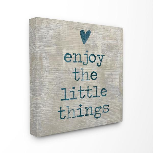 24 In X 24 In Enjoy The Little Things With Heart Wood Look Typography By Artist Jamie Macdowell Canvas Wall Art