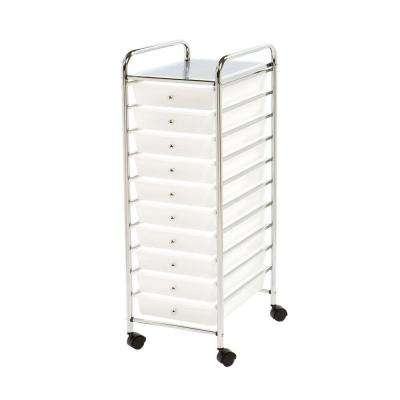 10-Drawer Steel Organizer Cart in Frosted White