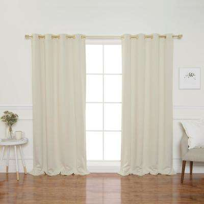 Gold Grommet 84 in. L Triple Weave Blackout Curtain Panel in Ivory (2-Pack)