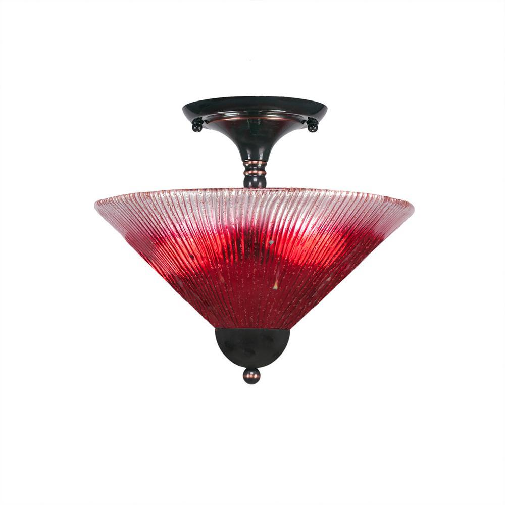 2-Light Black Copper Semi-Flushmount