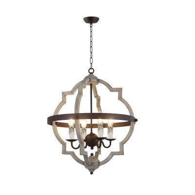 4-Light Rustic Metal and Antique White Wood Globe Chandelier