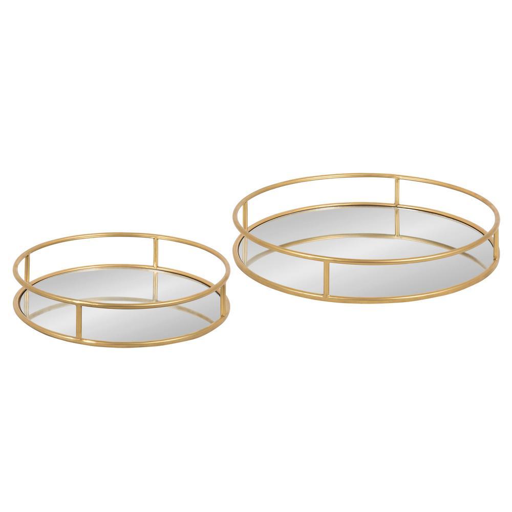 Felicia Gold Round Metal Nesting Decorative Tray (Set of 2)