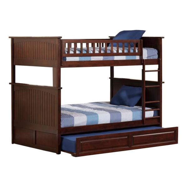Atlantic Furniture Nantucket Walnut Full Over Full Bunk Bed with Twin Raised Panel Trundle Bed