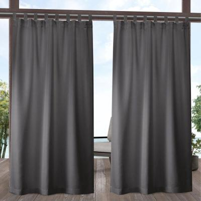 Indoor/Outdoor Solid Cabana Charcoal Light Filtering Tab Top Curtain Panel 54 in. W x 108 in. L (2 Panels)