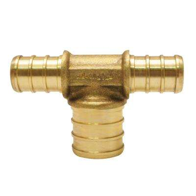 1/2 in. x 1/2 in. x 3/4 in. Brass PEX Barb Reducing Tee