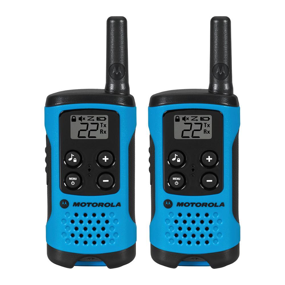 Motorola Talkabout T100 Alkaline 2-Way Radio, Neon Blue (2-Pack) by Motorola