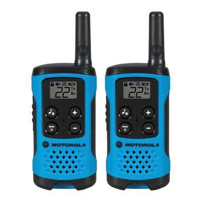 Talkabout T100 Alkaline 2-Way Radio, Neon Blue (2-Pack)