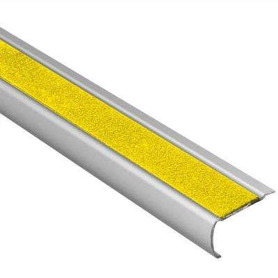 Trep-GK-S Brushed Stainless Steel/Yellow 1/16 in. x 4 ft. 11 in. Metal Stair Nose Tile Edging Trim