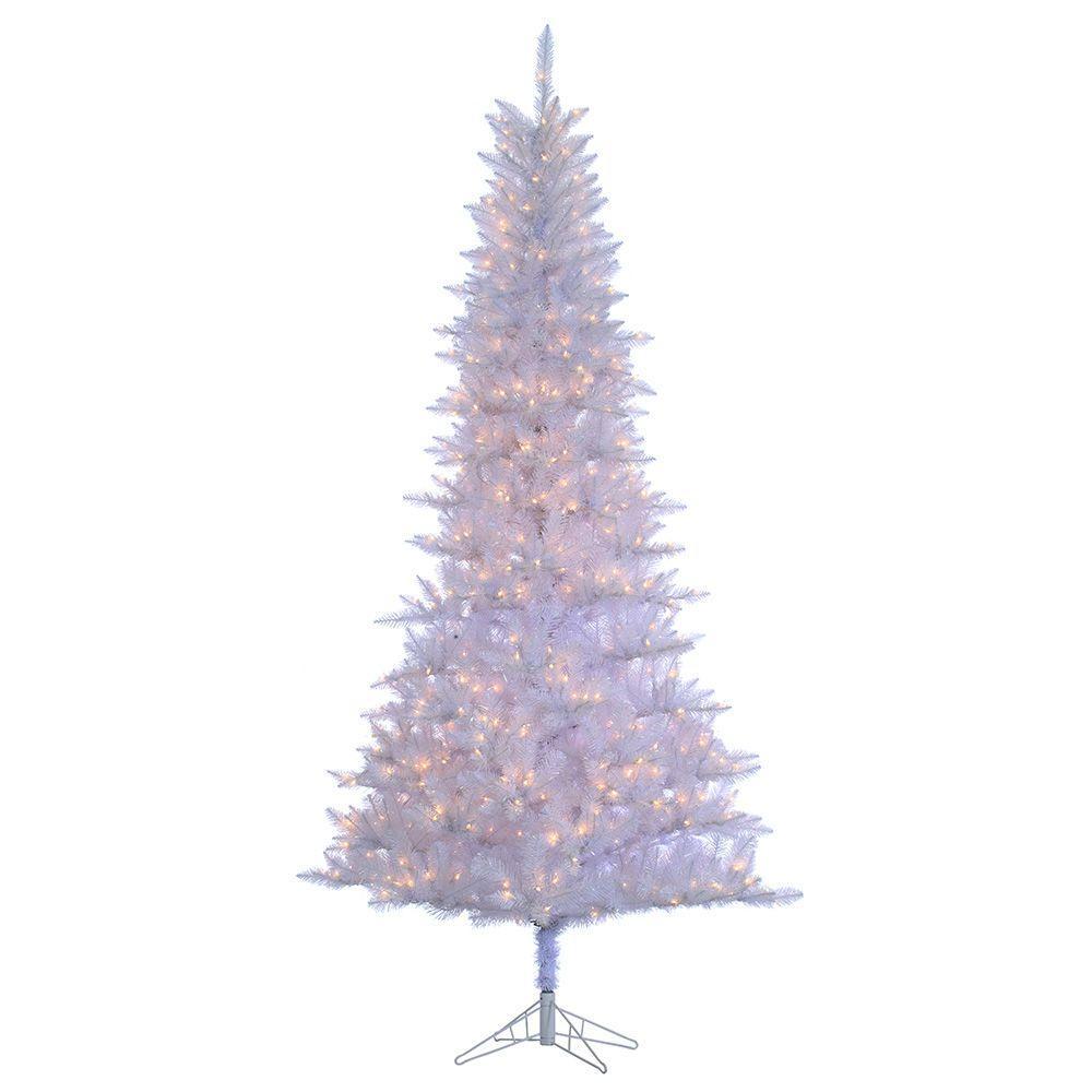9 ft. Pre-Lit White Tiffany Tinsel Artificial Christmas Tree