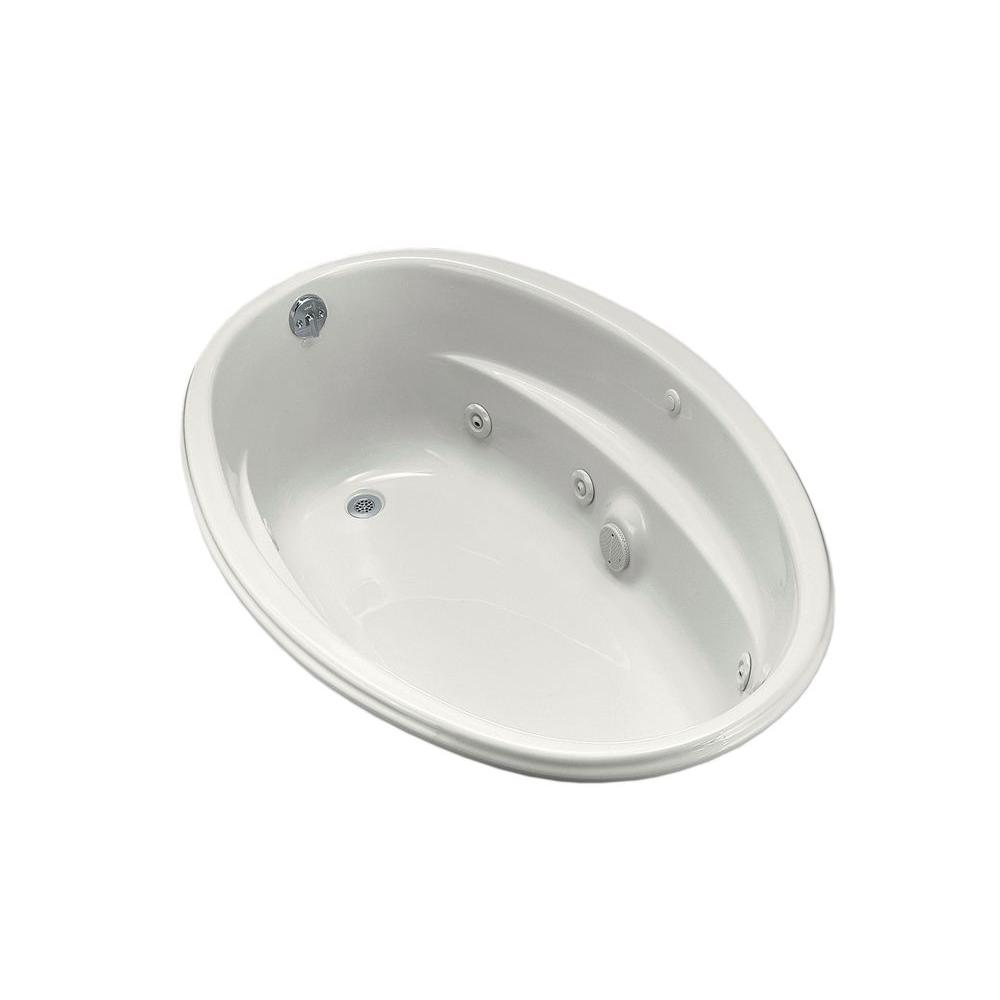 KOHLER ProFlex 5 ft. Acrylic Oval Drop-in Whirlpool Bathtub in White ...