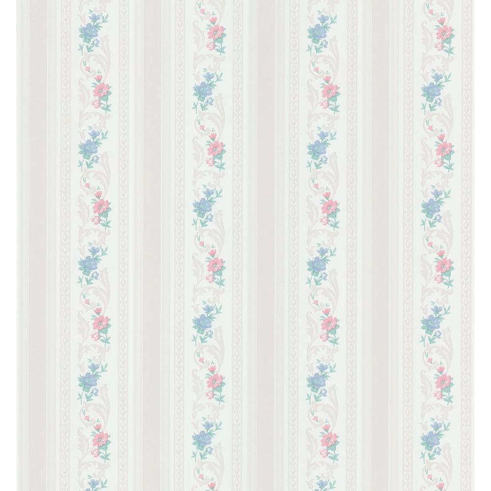 Brewster 56 sq. ft. Pomander Floral Stripe Wallpaper