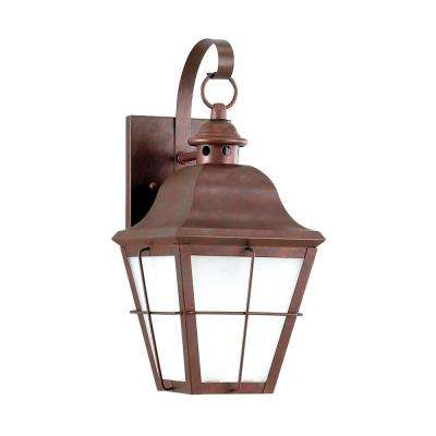 Chatham Small 1-Light Weathered Copper Outdoor 14.5 in. Wall Mount Lantern