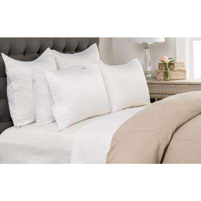 Diamond White Poly Satin Quilted Standard Sham